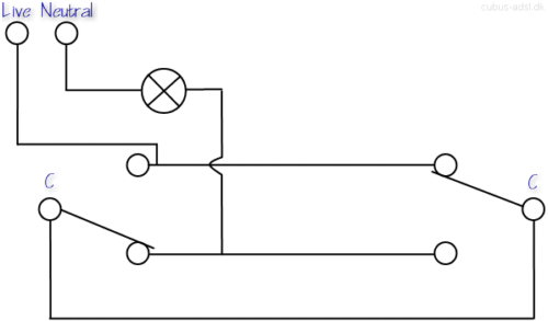 cubus adsl dk multi way switching two way switching three way wiring diagram of the b type 2 way switching circuit this wiring scheme is characterized by a wire in between the common terminals of the 2 way switches